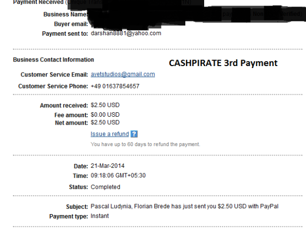 CASHPIRATE PAYMENT